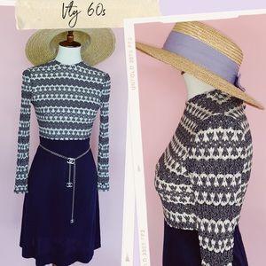 Vtg 60s Chevron Print Mini Dress XS SM